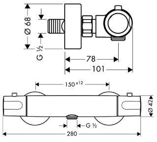 Hansgrohe Fox pour douche détail technique dimension et raccordement - Mitigeur thermostatique pour douche