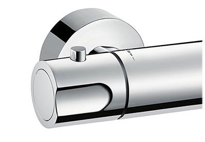 Hansgrohe Fox mitigeur thermostatique pour douche, vue de la molette réglage de débit (côté gauche)