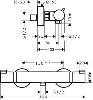Hansgrohe Ecostat Comfort pour douche détail technique dimension et raccordement - Mitigeur thermostatique pour douche