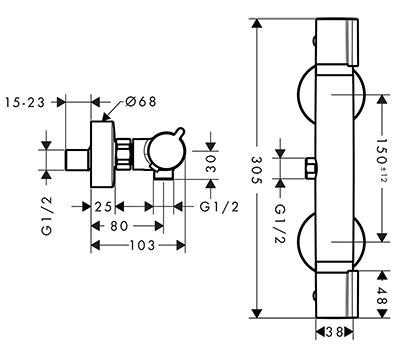 Hansgrohe Versostat pour douche détail technique dimension et raccordement - Mitigeur thermostatique pour douche