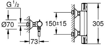 Grohtherm 800 pour douche détail technique dimension et raccordement