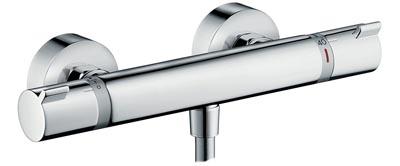 Vue de l'Ecostat Comfort d'Hansgrohe avec sa sortie douche et ses 2 molettes de réglages