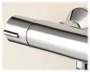 JULY Jacob Delafon mitigeur thermostatique pour douche, vue de la molette réglage de débit (côté gauche)