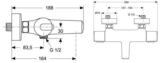IDEAL STANDARD Ceratherm 100 pour baignoire et douche détail technique dimension et raccordement