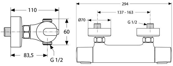 IDEAL STANDARD Ceratherm 100 pour douche détail technique dimension et raccordement