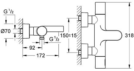 Mitigeur thermostatique Grohtherm 3000 pour baignoire et douche - détail technique dimension et raccordement
