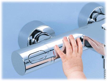 Mitigeur thermostatique Grohtherm 3000 pour baignoire et douche - sécurité Cooltouch pour enfant