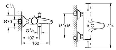 GROHE grohtherm 800pour baignoire et pour douche détail technique complet avec dimension et et raccordement