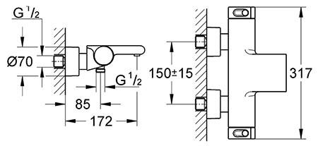 Mitigeur thermostatoique Grohtherm 2000 bain et douche détail technique dimension et raccordement