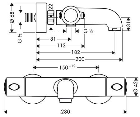 Hansgrohe Ecostat 1001 SL pour baignoire et douche détail technique dimension et raccordement