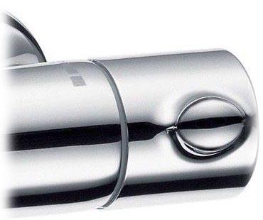 Hansgrohe Ecostat 1001 SL pour baignoire et douche détail technique dimension et raccordement, manette de réglage de température à droite